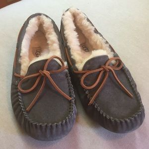 Grey UGG slippers with fur lining. Size 8
